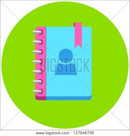 Address phone book, notebook icon. Flat style design. Vector