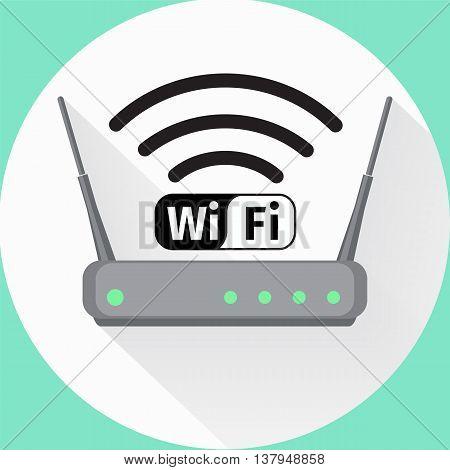 Wi fi wireless router web icon. Vector illustation