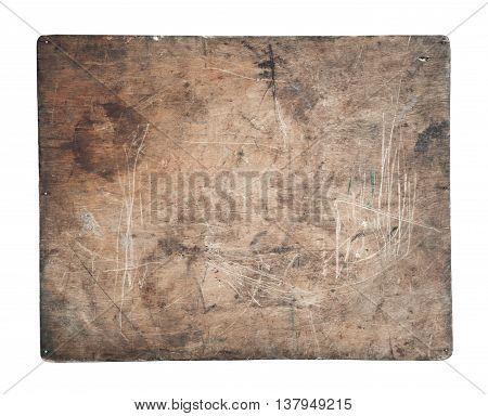 Old dirty wooden signboard close-up isolated on white background