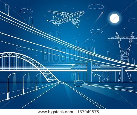 Car overpass, infrastructure, urban plot, the plane takes off, vector design art