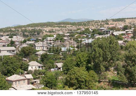 GEORGIA, AKHALTSIKHE- AUGUST 12,2013: Top view on the town of Akhaltsikhe. Georgia