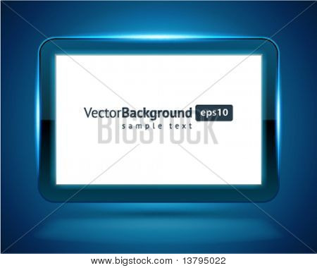 Display Screen fly with light vector background. Eps 10.