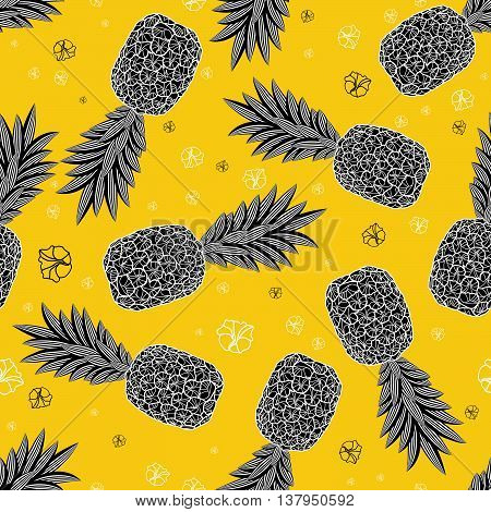 Pineapple seamless pattern. Graphic stylized drawing. Vector illustration