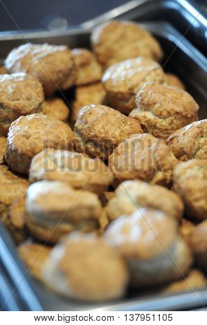 Platter of scones on a breakfast tray