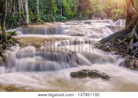 Flash Flood In Waterfall At Tat Kuang Si Luang Prabang, Laos