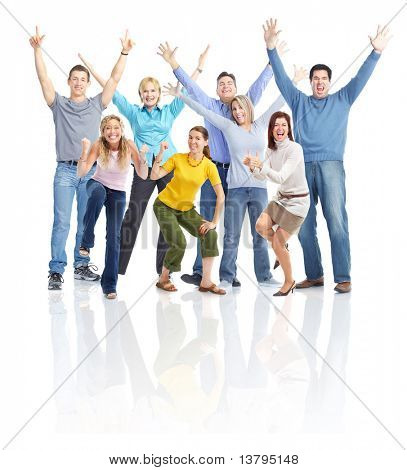 Happy people. Isolated over white background