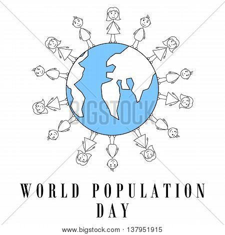 Stick figures surrounding earth globe. World population day design