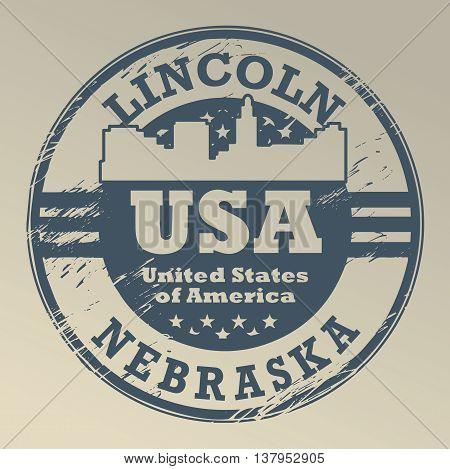 Grunge rubber stamp with name of Nebraska, Lincoln, vector illustration