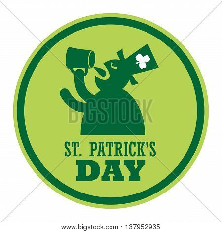 Green label and the text St. Patrick's Day written inside, vector illustration