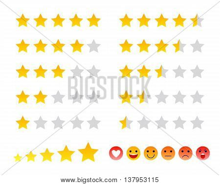 Stars icons and smilies ranking scales set vector illustration. Good for ad, poster, banner, web design.