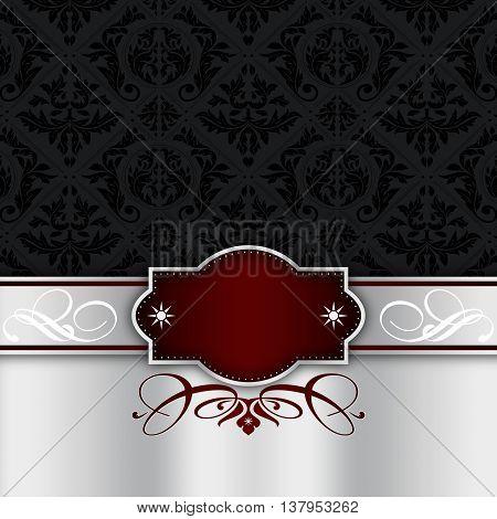 Vintage background with decorative border, elegant frame and old-fashioned black ornament.