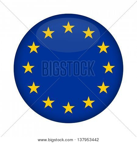 Blank Euro Flag button isolated on a white background.