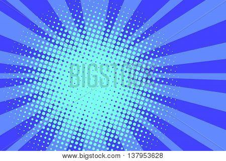 Blue rays retro comic pop art background vector