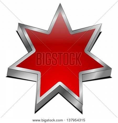 blank red Star button - 3d illustration