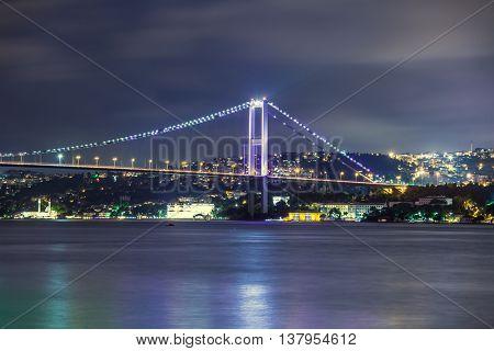 Bosphorus Bridge at night, Istanbul, Turkey