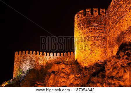 Rabati Castle at night in Akhaltsikhe, Georgia. Great medieval castle complex
