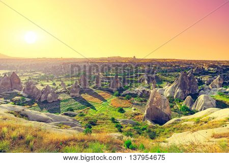 Spectacular rocks formations near Goreme, Cappadocia, Turkey