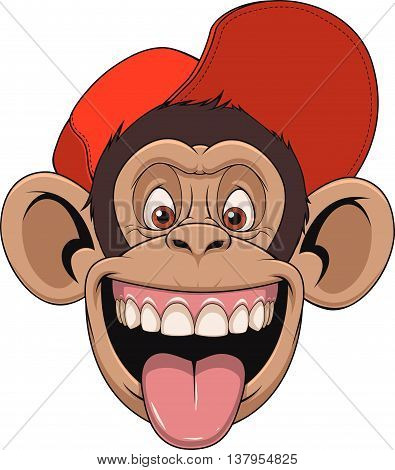 Vector illustration chimpanzee monkey head in a cap laughing and showing tongue