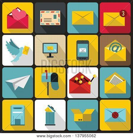 Email icons set in flat ctyle. Postal and mailing signs set collection vector illustration