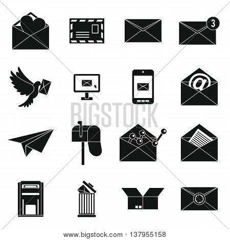 Email icons set in simple ctyle. Postal and mailing signs set collection vector illustration
