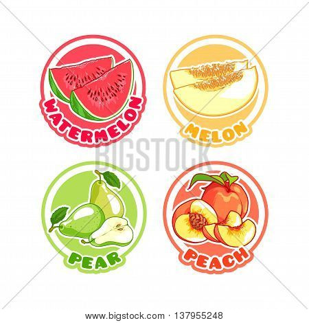 Four stickers with different fruits. Watermelon melon pear and peach. Vector cartoon illustration isolated on a white background.