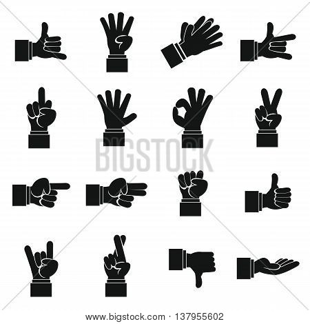 Hand gesture icons set in simple ctyle. Finger language set collection vector illustration