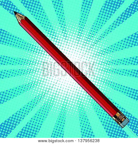 Realistic pencil with eraser pop art retro vector, hand drawn illustration. Tool for drawing and sketching
