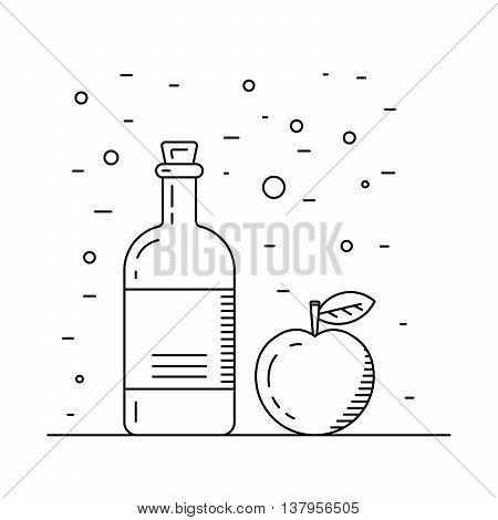Apple cider vinegar in the bottle vector outline. A set of glass bottles decanters with Apple cider vinegar spice for cooking. The fruit of the Apple which is Apple cider vinegar.