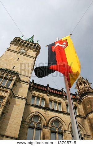 German national flag in front of the town hall of Braunschweig