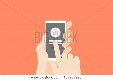 Hand holding smartphone with one finger over touchscreen. Flat vector log-in or register conceptual illustration.