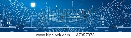 Big bridge, amazing panorama of night city, neon town. Architecture and infrastructure illustration. White lines landscape, vector design art