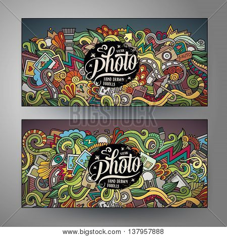 Cartoon cute colorful vector hand drawn doodles photo corporate identity. 2 horizontal banners design. Templates set