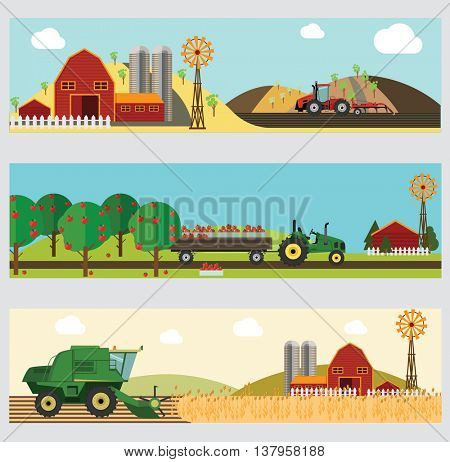 Agriculture and Farming. Agribusiness. Design elements for info graphic, websites and print media. Vector illustration.
