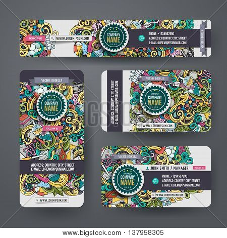 Corporate Identity vector templates set design with doodles hand drawn science theme. Colorful banner, id cards, flayer design. Templates set