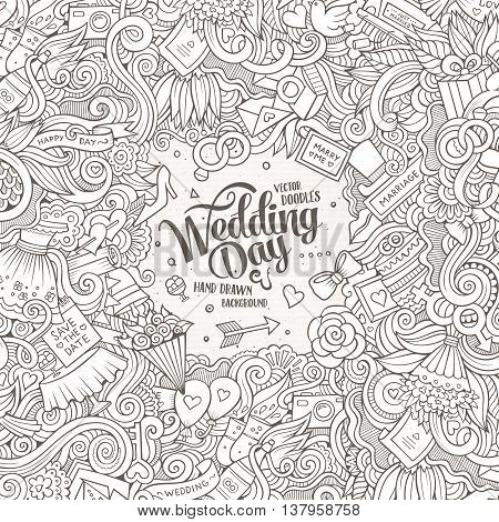 Cartoon cute doodles hand drawn wedding illustration. Line art detailed, with lots of objects background. Funny vector artwork. Sketch picture with marriage theme items. Square composition