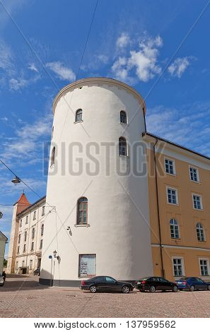 RIGA LATVIA - JUNE 7 2016: Lead Tower (circa 1515) of Riga Castle in Riga Latvia (UNESCO site). Initially constructed in 1330 for Livonian Order now castle serves as President Palace