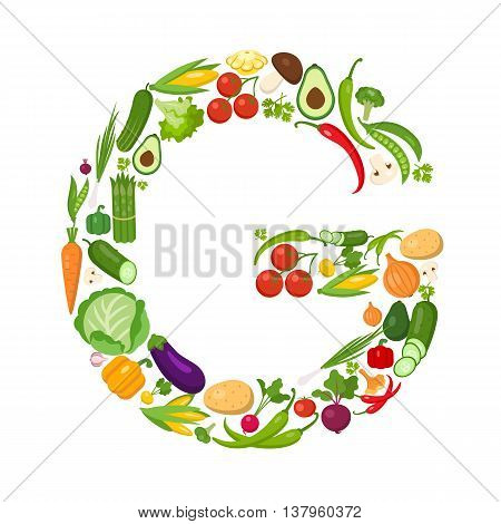 G letter from vegetables. Green alphabet. Fresh green vegetables for healthcare. Healthy diet concept. All vegetables like carrot, onion, tomato, pepper, cucumber, cabbage.