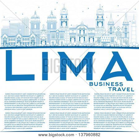 Outline Lima Skyline with Blue Buildings and Copy Space. Business Travel and Tourism Concept with Lima City.