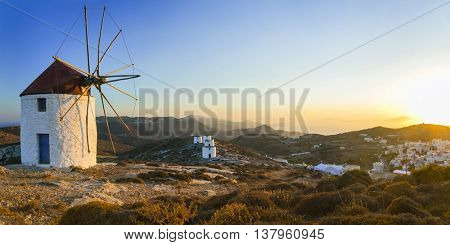 Traditional Greece - windmills over sunset, Amorgos island