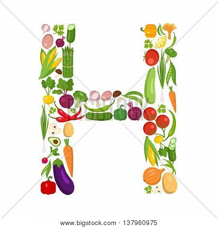 H letter from vegetables. Green alphabet. Fresh green vegetables for healthcare. Healthy diet concept. All vegetables like carrot, onion, tomato, pepper, cucumber, cabbage.
