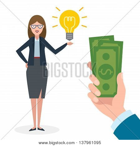 Businesswoman gets money for the idea. Beautiful businesswoman has idea bulb. Selling new ideas, getting money. Funding concept. Money bag.