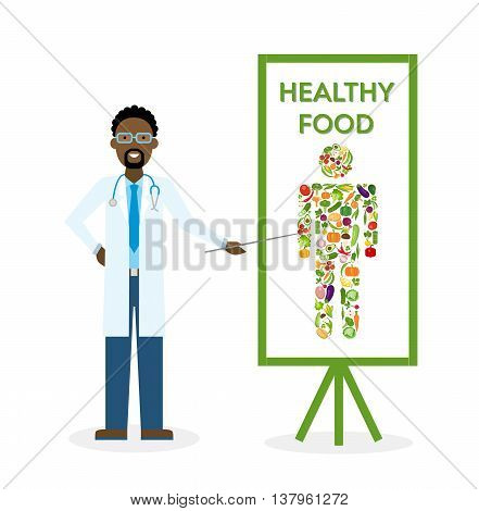Doctor with healthy food banner. Nutritionist shows how to eat clean and fresh food. Freen vegetables for body. Human silhouette.
