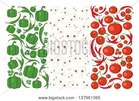 Italy flag from food. All vegetables from italian cuisine like mushrooms, chili, tomato, pepper. Food vector background. Italian food.