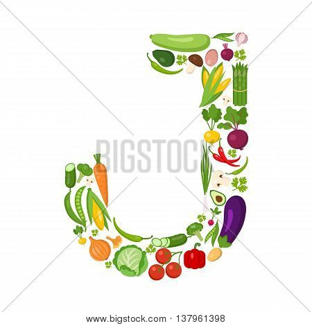 J letter from vegetables. Green alphabet. Fresh green vegetables for healthcare. Healthy diet concept. All vegetables like carrot, onion, tomato, pepper, cucumber, cabbage.