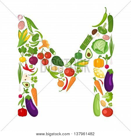 M letter from vegetables. Green alphabet. Fresh green vegetables for healthcare. Healthy diet concept. All vegetables like carrot, onion, tomato, pepper, cucumber, cabbage.
