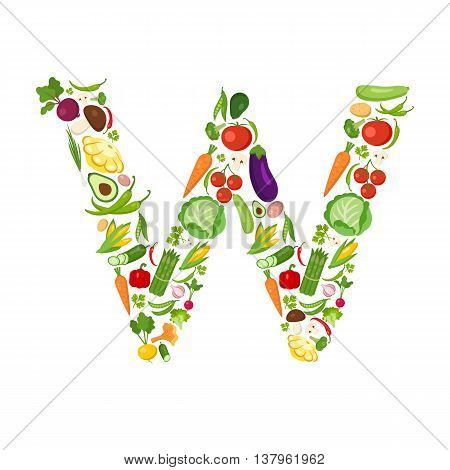W letter from vegetables. Green alphabet. Fresh green vegetables for healthcare. Healthy diet concept. All vegetables like carrot, onion, tomato, pepper, cucumber, cabbage.
