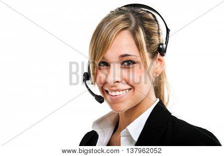 Female call center operator at work
