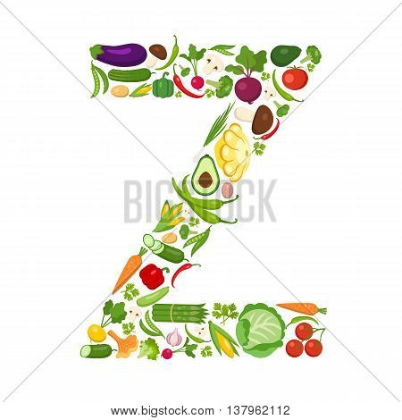 Z letter from vegetables. Green alphabet. Fresh green vegetables for healthcare. Healthy diet concept. All vegetables like carrot, onion, tomato, pepper, cucumber, cabbage.