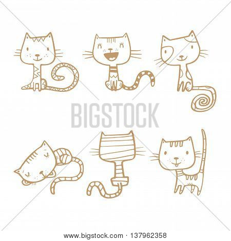 Cartoon doodle cats set. Six little cute kittens. Children's illustration. Funny animals. Vector contour image no fill.