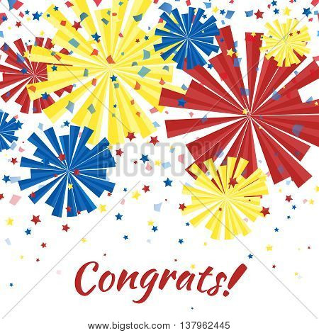 Congrats. Party background with multi-colored salute and confetti .Vector illusctration